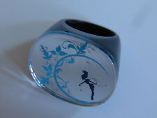 Mirrored TINKERBELL Big Silver Blue & Black Chunky Lucite Ring Sz 7.5