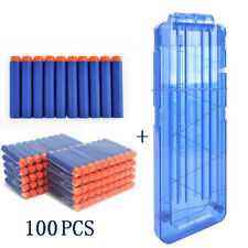 100Pcs Bullets Dart +1x15 Reload Clip Magazine Blue Replacement for Nerf Gun Toy