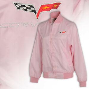2005-2013 Corvette Pink Satin Nylon Ladies Jacket w C6 Embroidered Logos 620303
