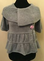 Tibi New York Womens Crop Cardigan Sweater Size XS Gray Shawl Collar Merino Wool