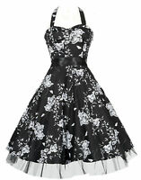 New Black Floral 40's 50's Vtg Rockabilly Jive Swing H/Neck Prom Dress 8 to 26