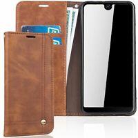 Wiko View 2 Cassa Telefono Cellulare Schutz-Tasche Case Flip Cover Wallet Braun