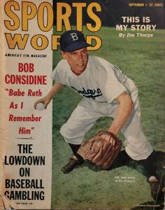Sports World Sept 1949 Vtg Magazine Brooklyn Dodgers Bob Considine Babe Ruth GD