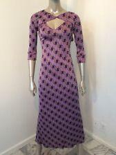 NWT $495 Jules Reid Purple Gray Long Dress Sexy Gown  Small Pure Silk USA