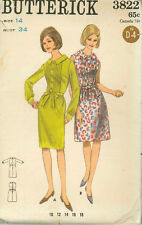 Vintage One Piece Dress Sewing Pattern B3822 Size 14