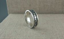 Sterling Silver Soulmate Wedding Ring with Oxidized Finish 7 mm size 10.5