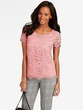 NEW $119 TALBOTS Pink Amherst Lace Cotton Blend Top,Shirt Sz 16