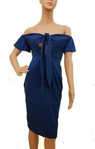 Royal Blue Front Tie Fitted Stretch Bardot Bodycon Dress Medium UK size 10 to 12