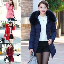 Ladies Winter Women Down Cotton Parka Long Fur Collar Hooded Coat Jacket XS-XXL