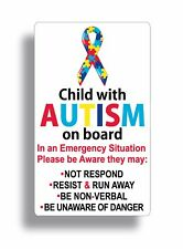 Autism Sticker Child on board Autistic awareness Window Bumper Car safety 911