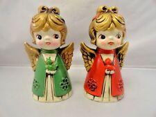 Vintage LeeWards Christmas Twin Girl Angel Figurines Baby Birds Green Red