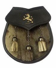 Scottish Kilt Sporran Semi Vestido Formal insignia de piel de foca con León rampante Antiguo