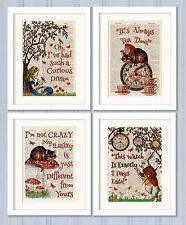 Set of 4 Alice in Wonderland Antique Book page Art Prints A4-Nursery Set1 Orange
