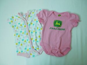 Set of 2 Infant Girl John Deere Safety Pins Pink Bodysuits Approx. 0-6 Months
