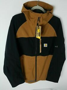 Carhartt Storm Defender Force Mid Weight Hooded Jacket Brown 104245 Mens Sz L