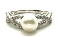 Sterling 925 Round White Pearl Braided Swirl CZ Band Elegant Cocktail Ring 6.75