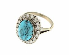Ring 14k White Gold Cocktail Diamonds .90tw and Blue Dyed Howlite Turquoise Sz 7
