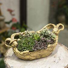 Bunny Planter Resin Flower Pot Sculpture Succulent Air Plants Multilayer Stump