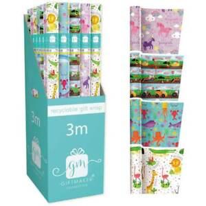 BUY 2 GET 1 FREE 3M Kids Roll Gift Wrap UNICORN SAFARI FARM UNDER THE SEA