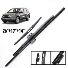 "26""17""14"" Front Rear Wiper Blades Set Windshield Fit For Honda CRV CR-V 2007-11"