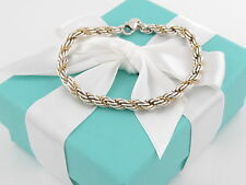Auth Tiffany & Co Silver 18K Gold Rope Bracelet Packaging Box & Pouch Included