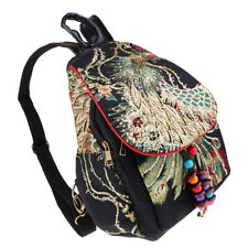 Women Ethnic Embroidery Backpack Peacock Embroidered Travel Bags Black