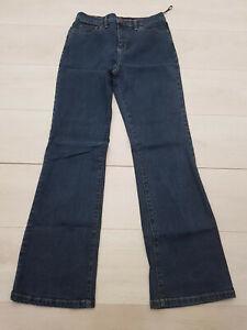 M&S PER UNA Bootcut Jeans Size 10 W28 L30 Dark Blue Stretch Zip Pockets Cotton