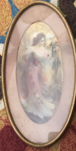 """Vintage OVAL WOODEN PICTURE FRAME Victorian Lady Flowers Print 16-1/2"""" X 8-1/2"""""""