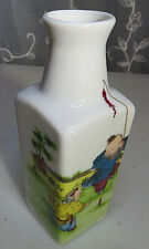 Vintage Porcelain Mini Liquor Bottle Vase Asian China Firecrackers Boys Playing