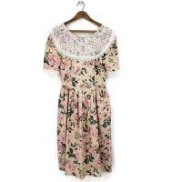 Vtg Jessica McClintock Gunne Sax Dress 11/12 Pink Floral Print Lace Prairie