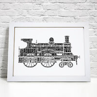 Personalised Word Art Cloud Steam Engine Train Picture Print Gift Frame
