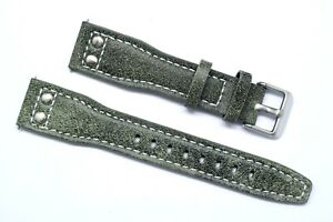 20mm 22mm 24mm Grey/Blue Double Rivet Style Nostalgic Leather Watch Band