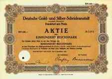 Deutsche Gold Silber Scheideanstalt Roessler DEGUSSA 1928 Frankfurt Hanau 100 RM