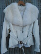 Vtg WHITE FOX FUR COLLAR COAT Buttery Soft Leather Batwing Peplum Quilted Jacket