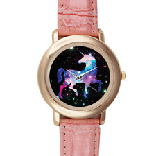 Mythical Unicorn Rainbow Star Cloud Pink Leather Watch with 16 Links Gold Case