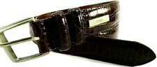 Polo Ralph Lauren Men Leather Belt Brown Gator Embossed Leather Lined Made USA