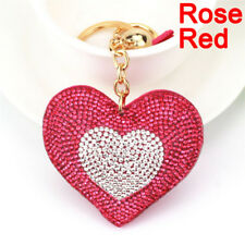 Heart Crystal Rhinestone Handbag Charm Pendant Bag Keyring Key Chain Ring IA