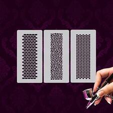 Airbrush Schablonen Mylar MU04 Nailart 3 Stk. Muster Steine Waben Ziegel Schmuck