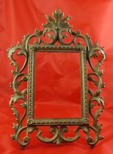 Antique Victorian Easel Cast Iron Picture Frame Marked Signed 118 Gold Gilt