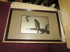 Japanese Antique Style Mixed Metal Plaque w/ Hawk 20th Century
