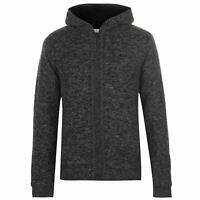 Lee Cooper Mens Hooded Zip Knitted Jacket Lined Knitwear Coat Top Long Sleeve