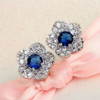 For Women Girls Ladies Blue Crystal Rhinestone Stud Earrings Fashion Jewelry