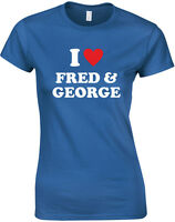 I Heart Fred & George, Harry Potter inspired Ladies'  Printed T-Shirt