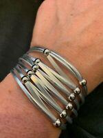 "Multi Strand Womens Flexible Cuff Bracelet Accordion Magnet Clasp 7"" Cuff NEW"