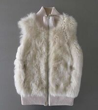 PRADA Cream Fur & Leather Gilet with zip front & certificate  No. - PURE LUXURY