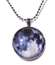 FULL MOON PENDANT glass cab mirror cab necklace Luna lunar astronomy werewolf A2