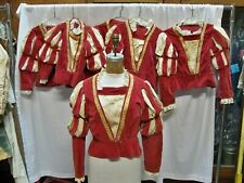 Set of 6 Ladies' Elizabethan Madrigal Bodices - Rust/Red color with Ivory insets
