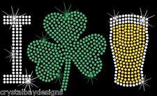 I Love Beer Shamrock Irish Rhinestone Bling Transfer Hot Fix Iron On 51-89