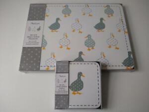 Set of 4 Duck Grey Polka Placemats & Coasters Dinner Dining Table Mats White