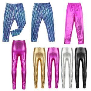 Kids Girls Glittery Mermaid Pants Glossy Leggings Jazz Hip Hop Party Dancewear